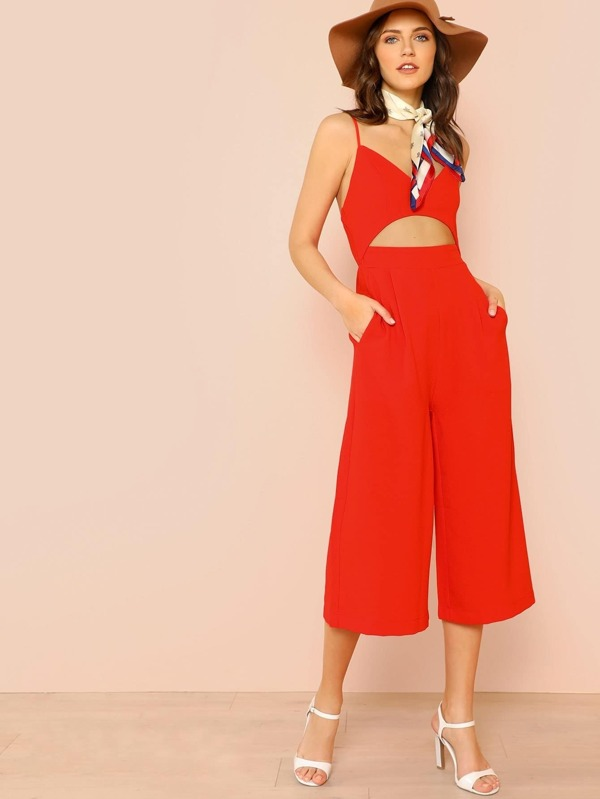 Cut Out Front Cami Culotte Jumpsuit by Shein