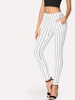 Vertical Striped Skinny Pants