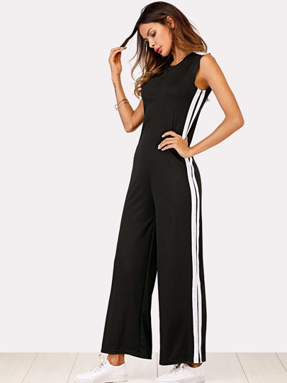 Contrast Striped Side Jumpsuit