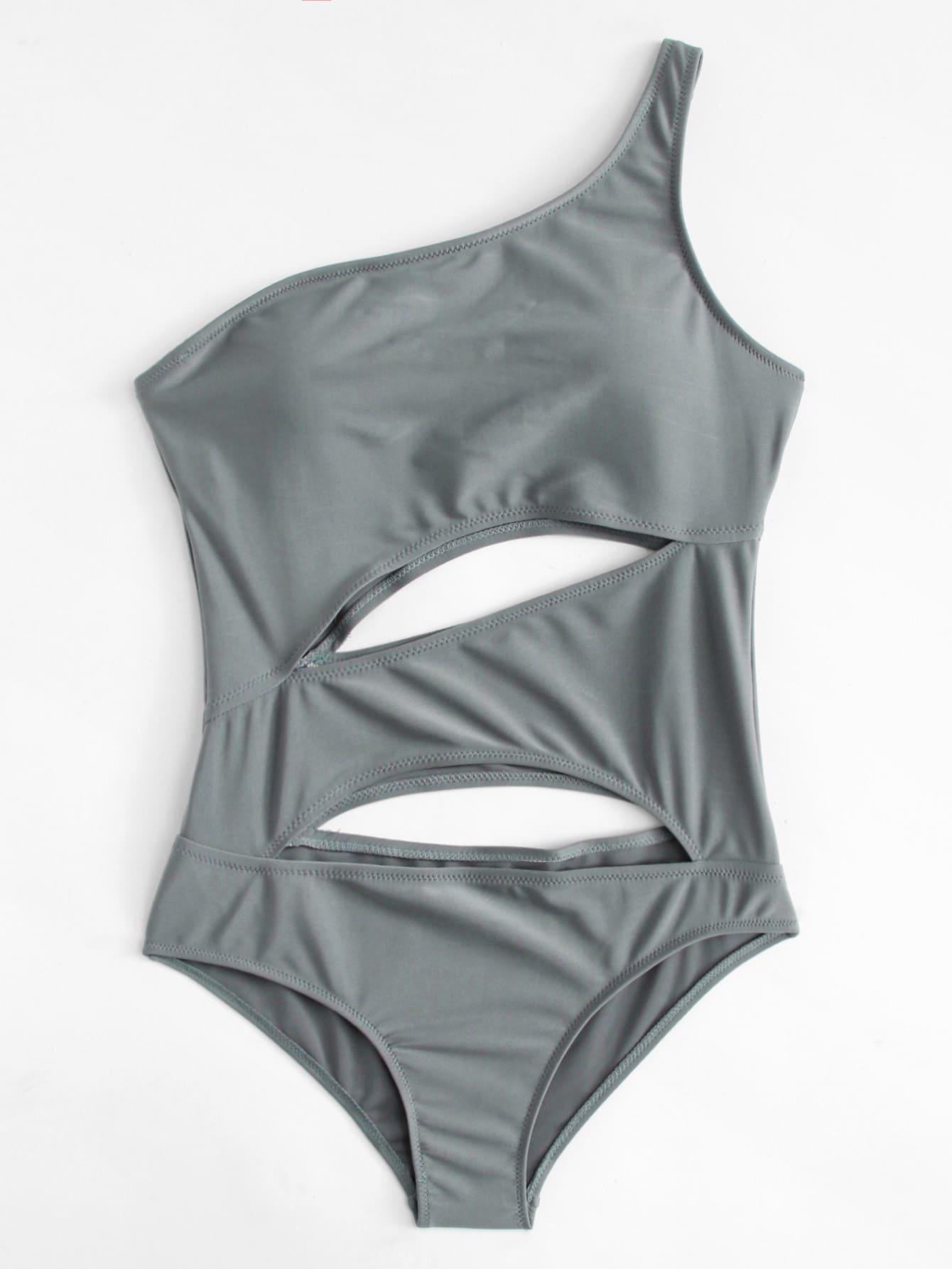 One Shoulder Cutout Swimsuit pink shoulder cutout