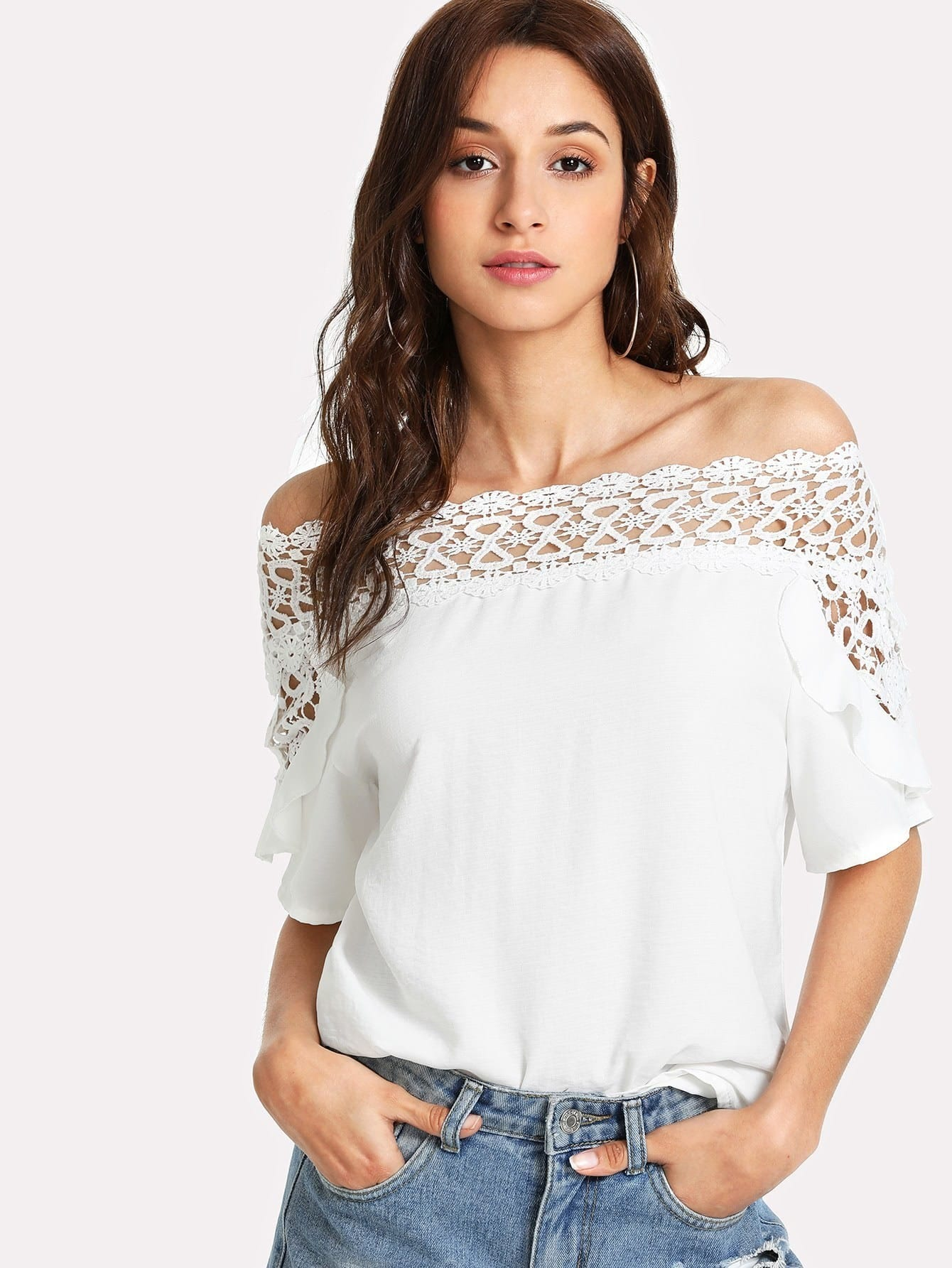 Guipure Lace Panel Bardot Top