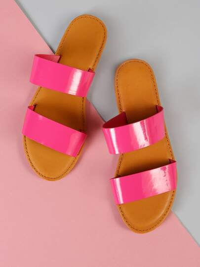 Patent Double Band Slide Sandal HOT PINK
