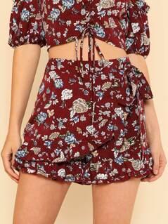 Tie Waist Ruffle Trim Floral Shorts