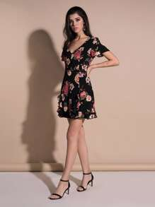 V Neckline Floral Print Ruffle Trim Dress
