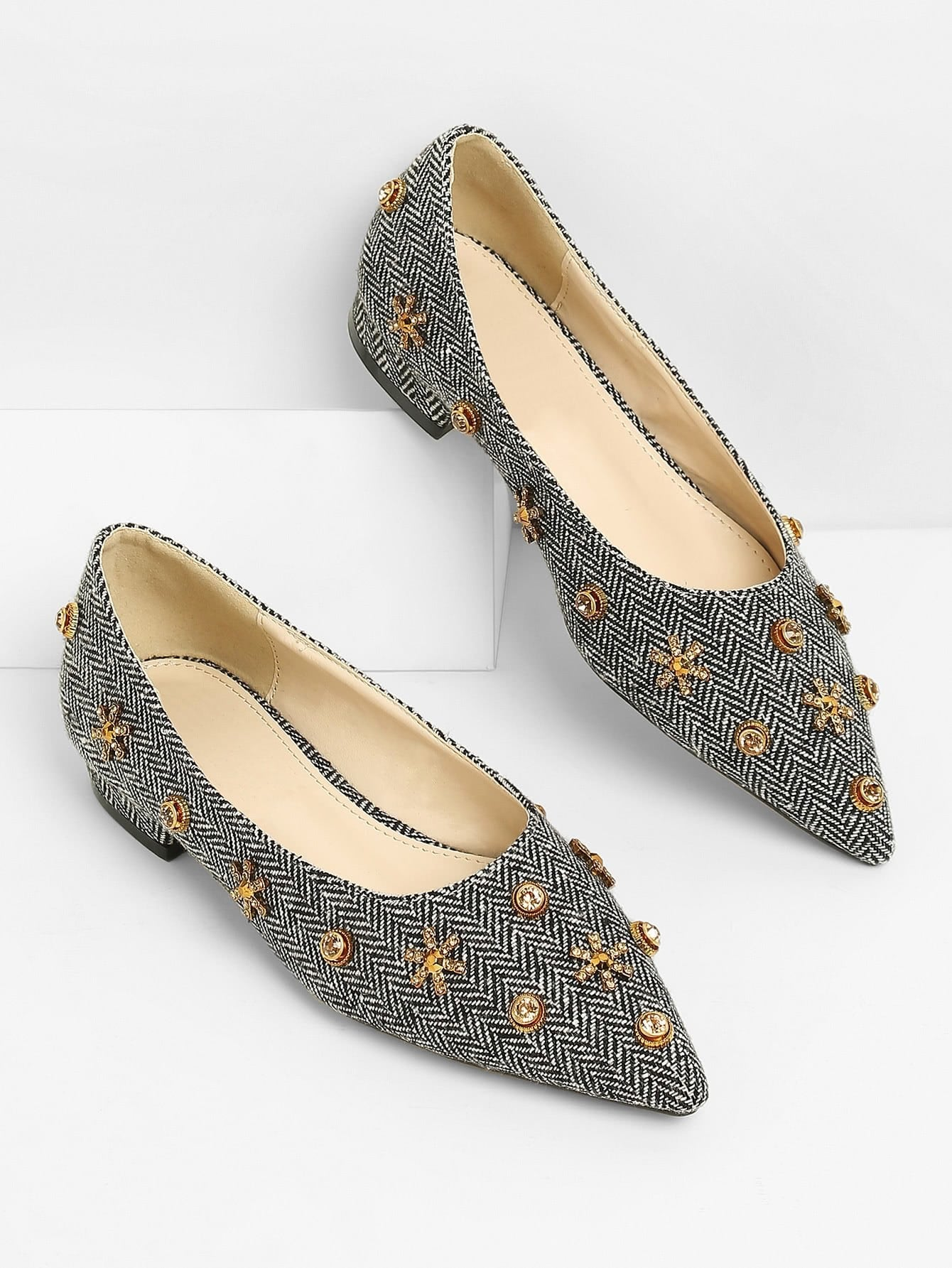 Zigzag Pointed Toe Ballet Flats