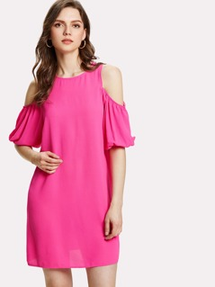 Open Shoulder Lantern Sleeve Dress