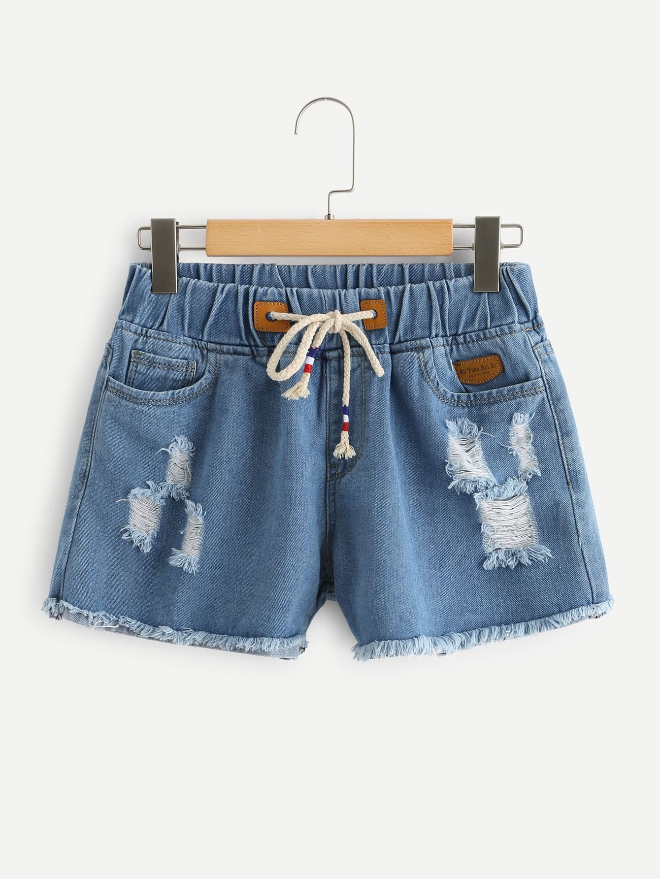 Drawstring Waist Ripped Denim Shorts цена 2017