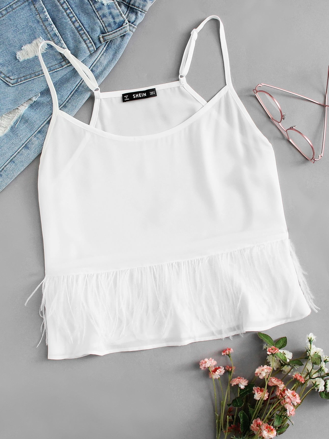 Faux Feather Detail Cami Top v notch faux feather detail bardot top