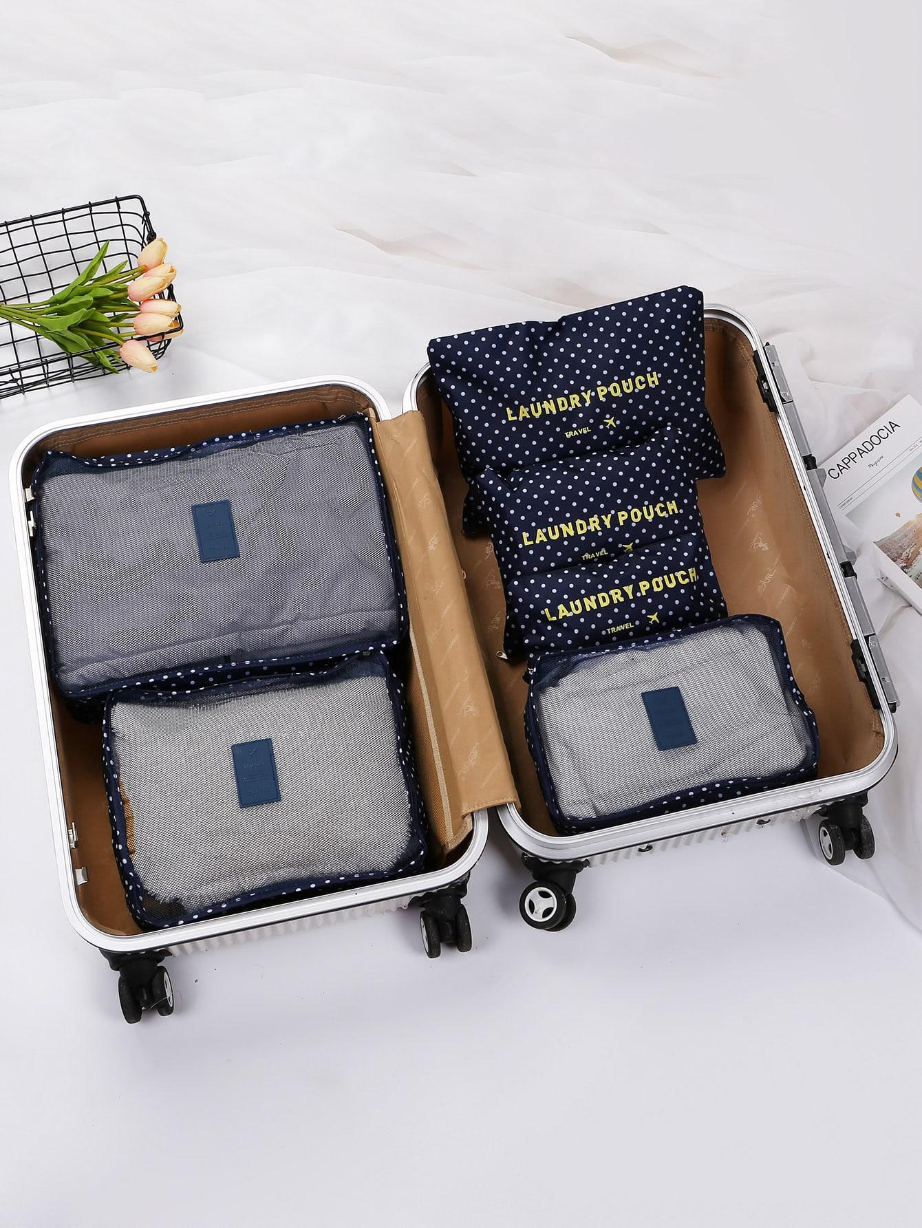 6 Pcs Travel Bags Set Dot Print Storage Bag