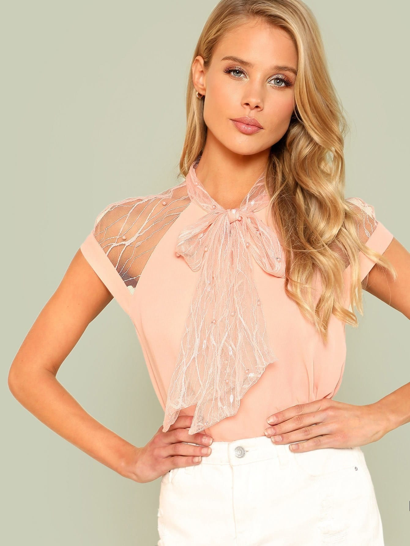 Pearl Beading Mesh Insert Tied Neck Top pearl beading layered sleeve top