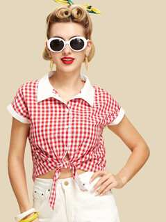 Contrast Collar And Cuff Knot Gingham Shirt