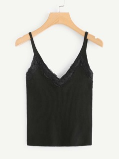 Lace Insert Rib Knit Cami Top