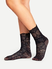Scalloped Trim Lace Ankle Socks