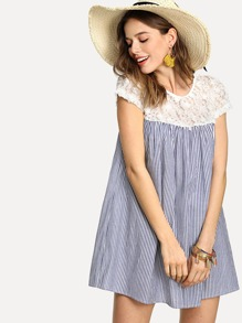 Applique Yoke Striped Swing Dress