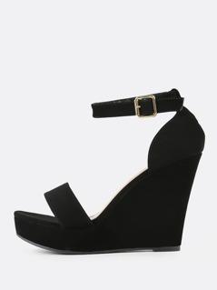 Single Band Ankle Strap Wedge Sandal BLACK