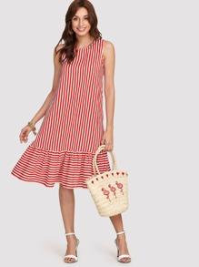 Pinstripe Ruffle Hem Swing Dress