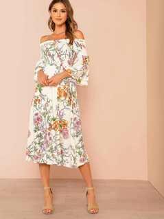 Floral Print Off Shoulder Smocked Top Dress IVORY