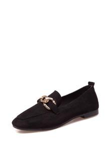 Chain Decor Flat Shoes