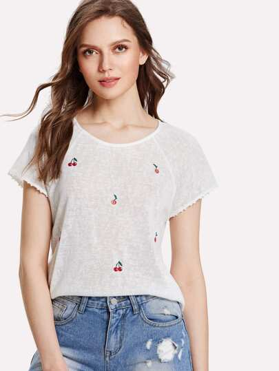 Cherry Embroidered Paper Thin T-shirt