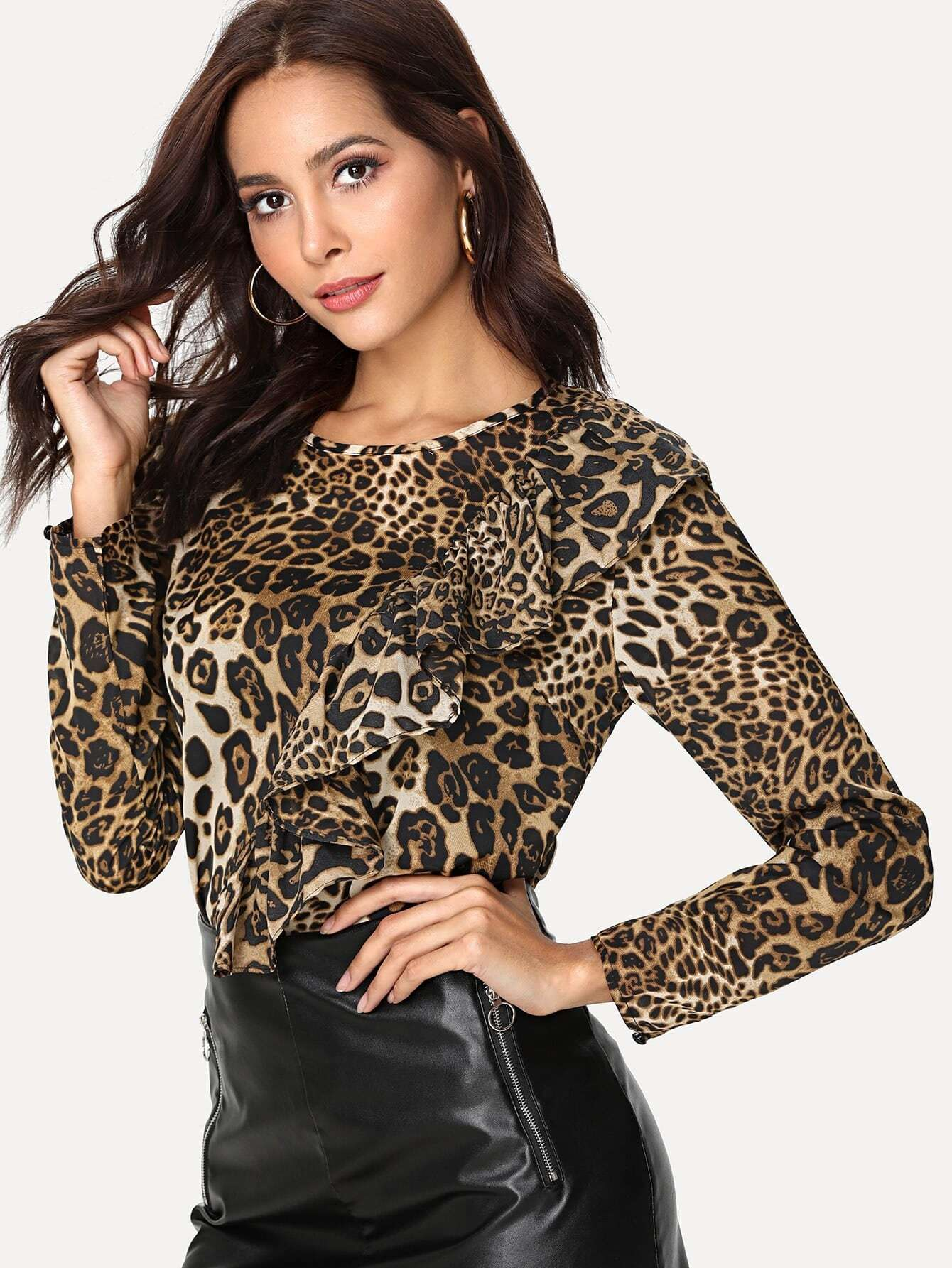 Ruffle Trim Leopard Top valentine golden brown pettiskirt dress leopard heart ruffle bow white top 1 8y mapsa0229