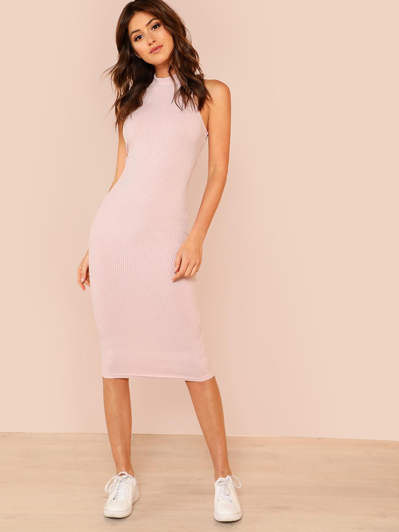 Mock Neck Rib Knit Pencil Dress mock neck lace up rib knit dress