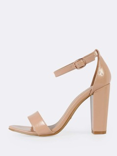 Patent One Band Ankle Strap Chunky Heel NUDE