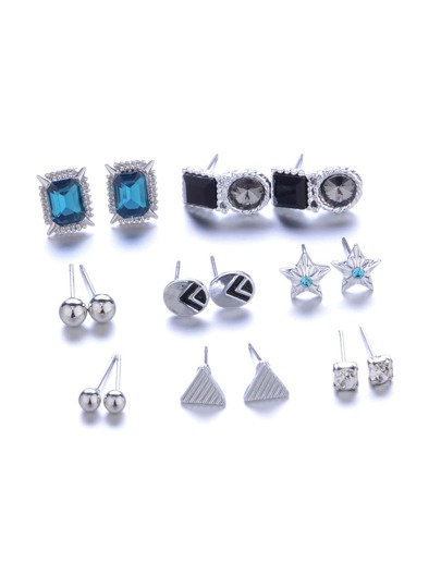 Star & Triangle Design Stud Earring Set