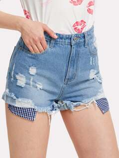 Contrast Gingham Raw Hem Ripped Shorts