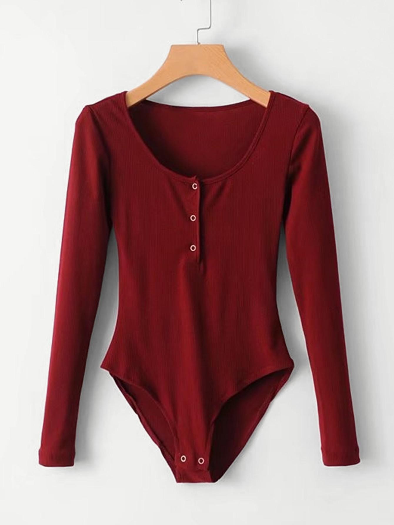 Solid Ribbed Bodysuit bodysuit180312201
