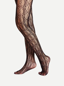 Geometric Pattern Lace Tights