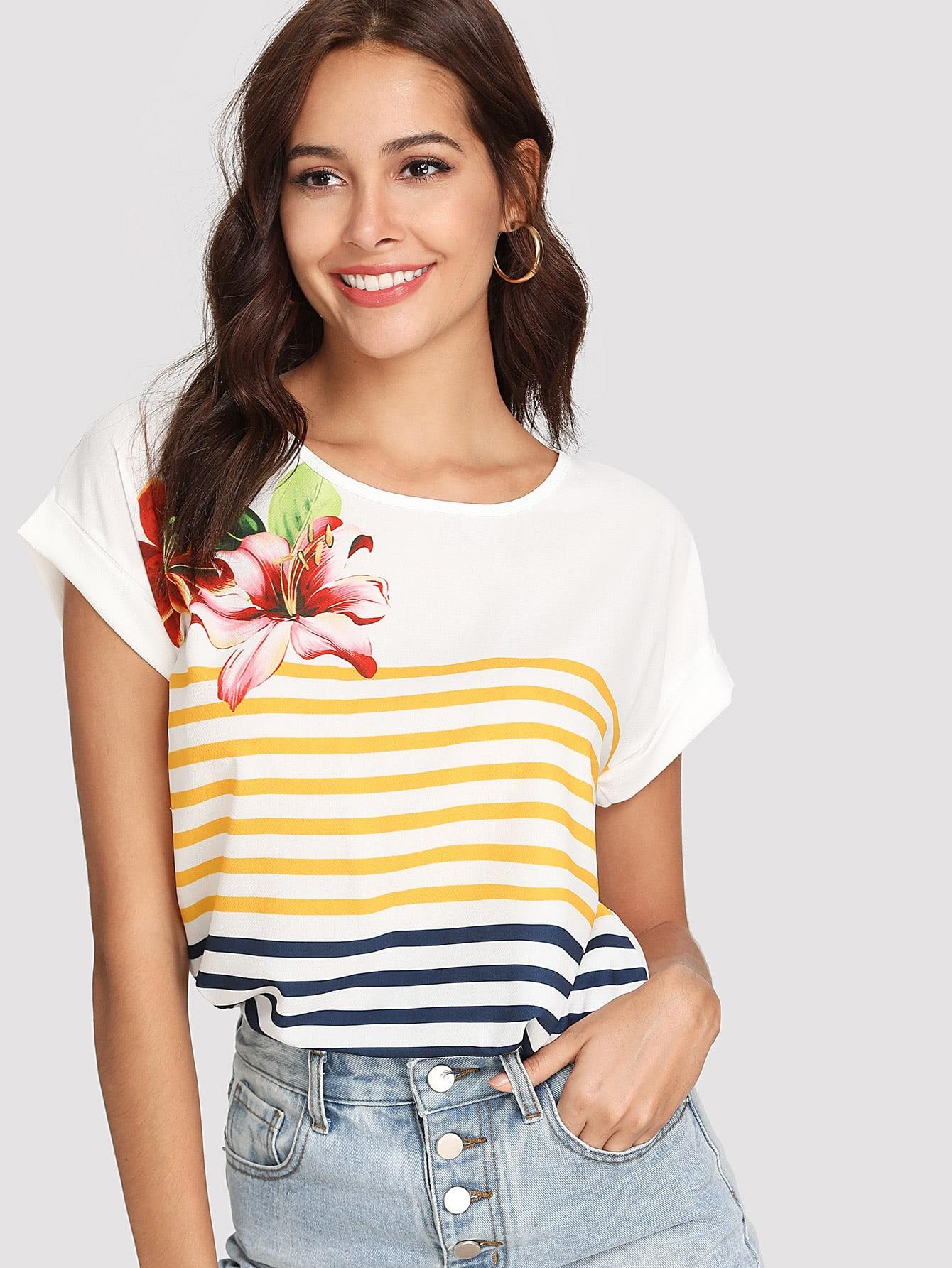 Contrast Striped Floral Print Tee v neckline contrast floral print striped tee