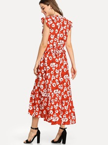 Ruffle Embellished Floral Dress