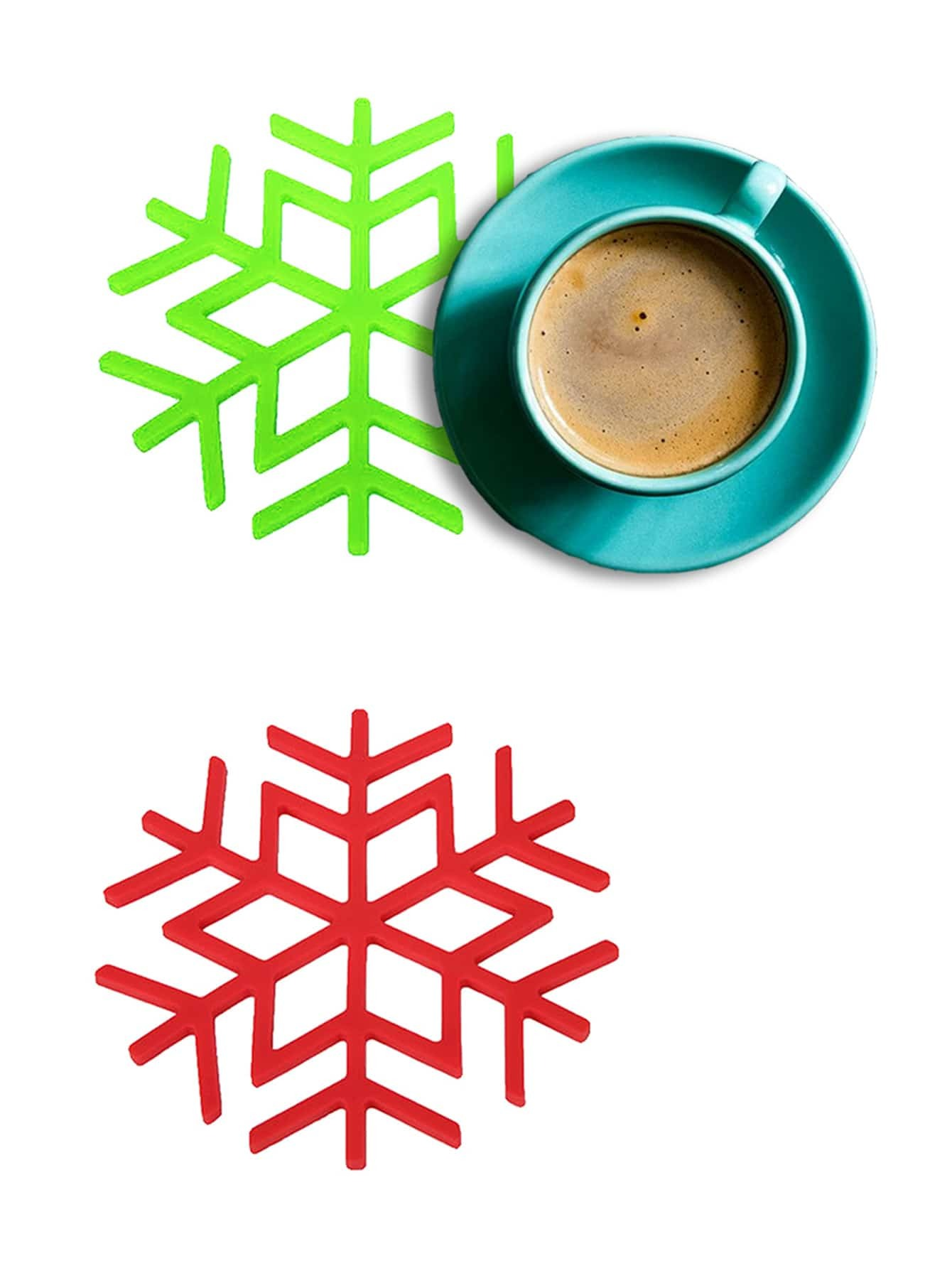 1Pc Random Color Snowflake Shape Heat Resistant Mat random tableware print kitchen mat 1pc