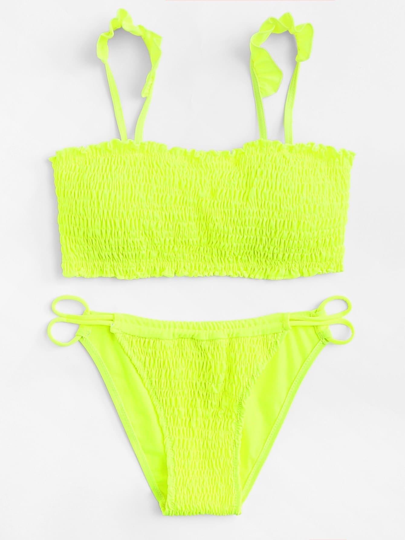 Shirred Ruffle Detail Bikini Set