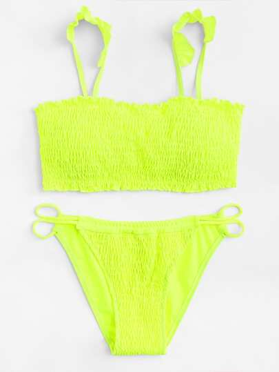 Shirred Ruffle Detail Bikini Set