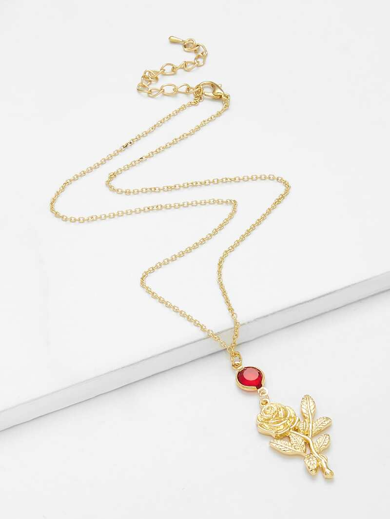 Rose Pendant Chain Necklace With Rhinestone, Gold