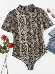 Stand Neck Snakeskin Pattern Bodysuit