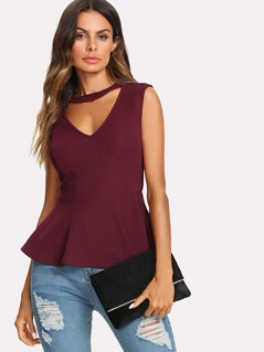 Choker Neck V Back Ruffle Hem Top