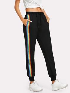 Rainbow Striped Side Sweatpants