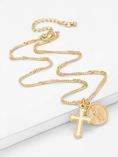 Cross Drop Chain Necklace