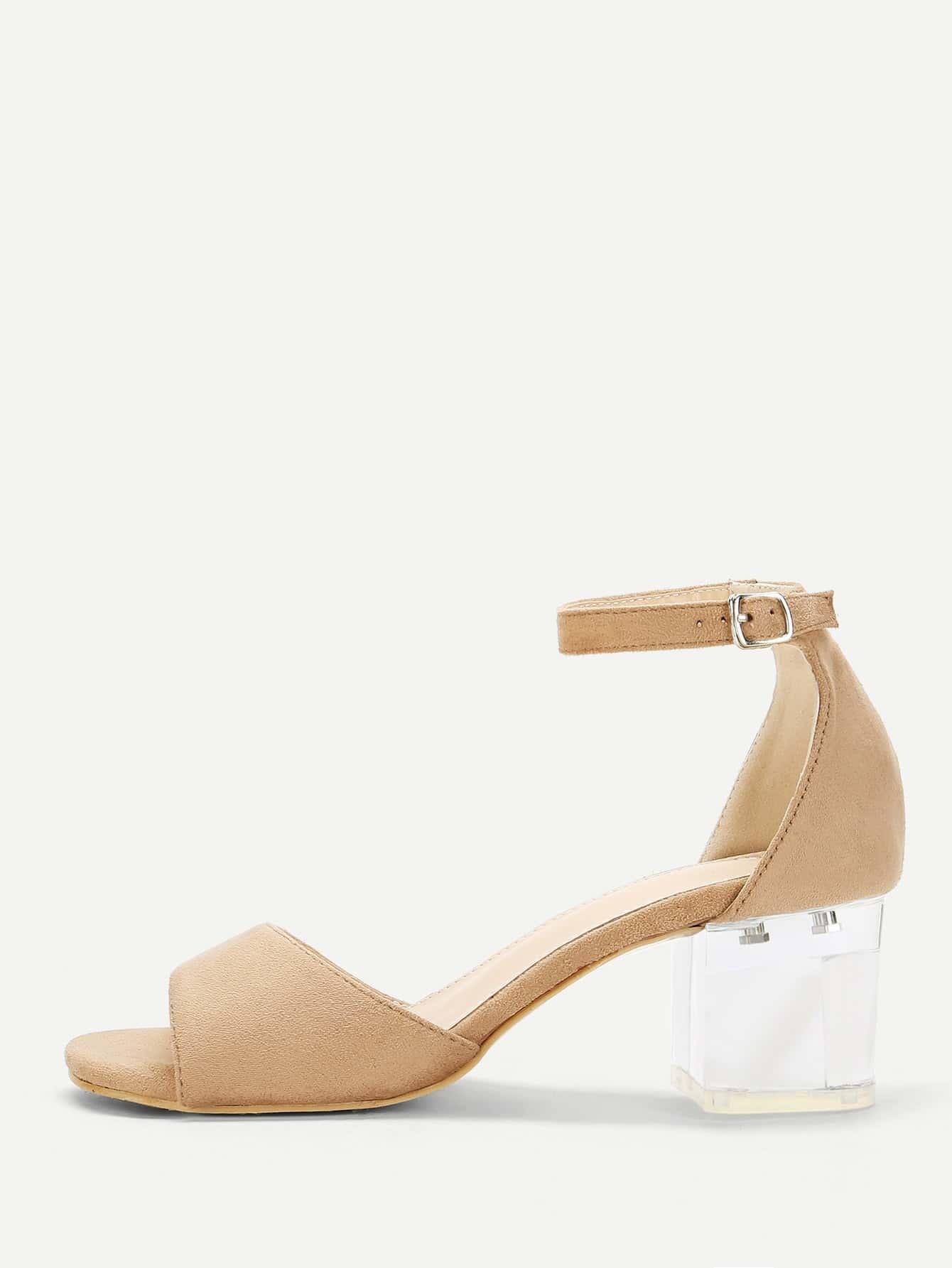 Two Part Clear Block Heels two part stiletto heels