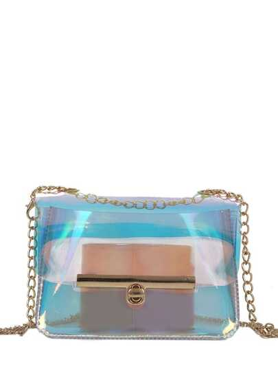 Lock Detail Transparent Crossbody Bag
