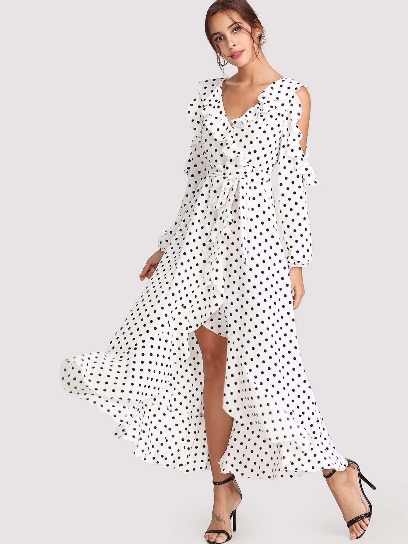 Crisscross Back Ruffle Trim Asymmetrical Polka Dot Dress ruffle trim belted polka dot dress
