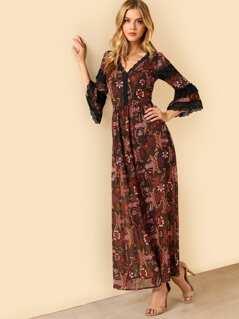 Lace Inset Flounce Sleeve Maxi Dress