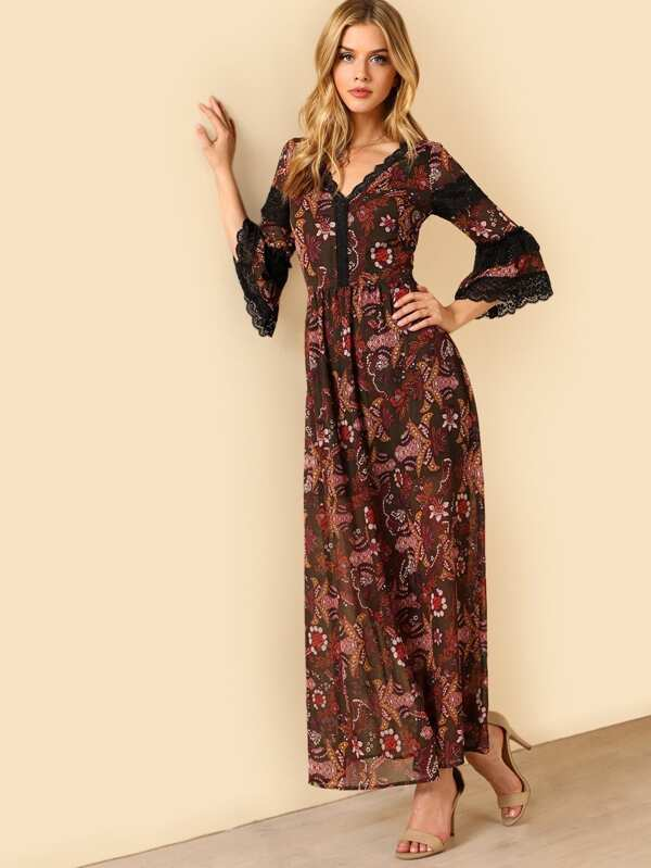 Lace Inset Flounce Sleeve Maxi Dress by Shein