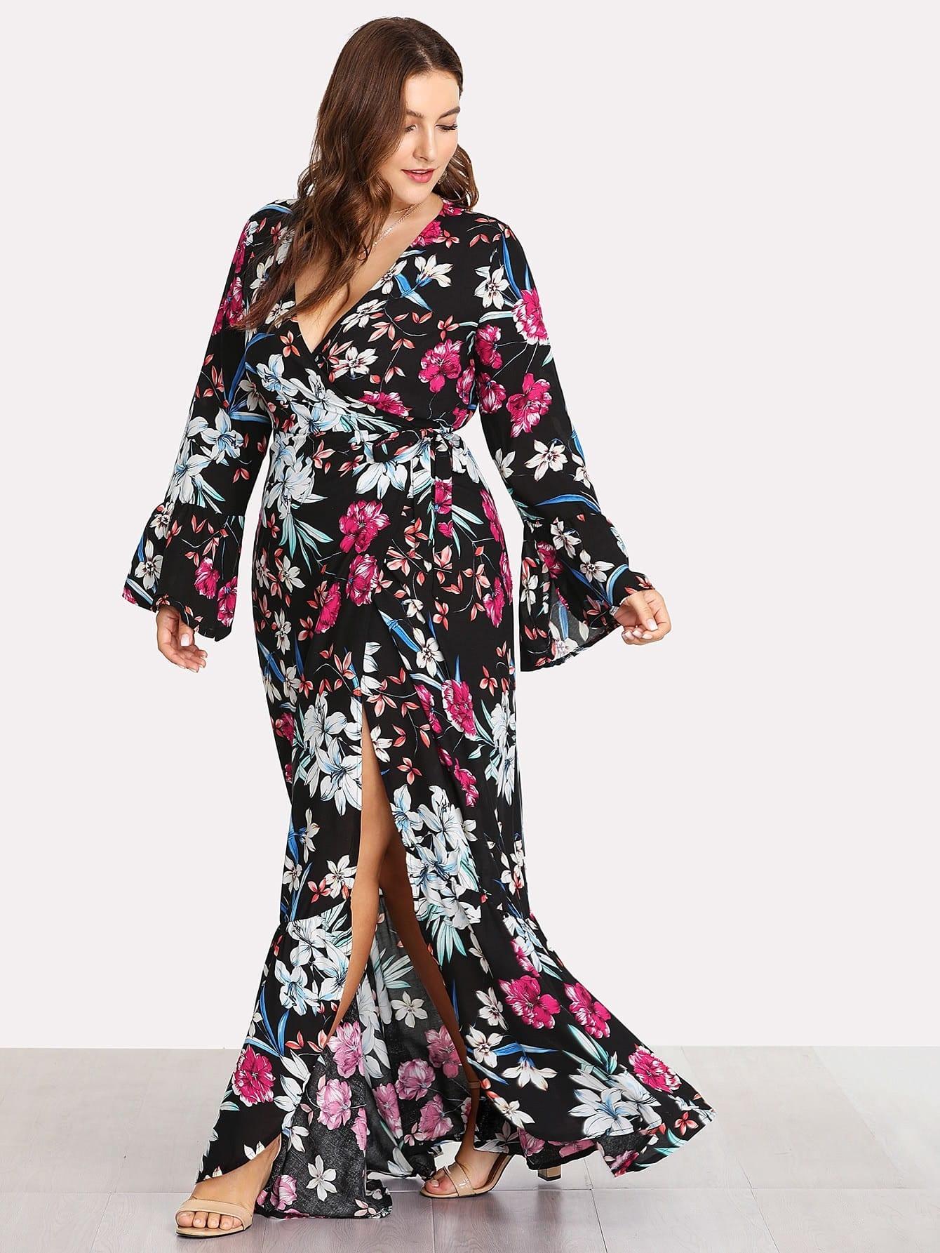 Fluted Sleeve Tie Side Floral Print Dress v notch pearl leaf chain detail fluted sleeve dress