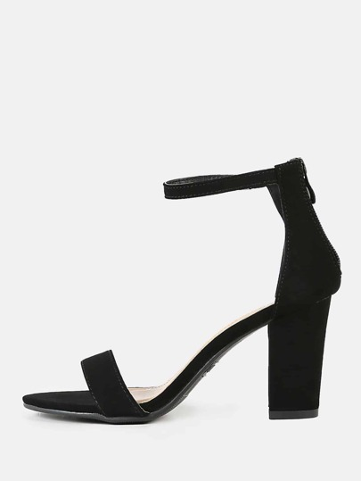 Single Band Zip Back Chunky Heel BLACK