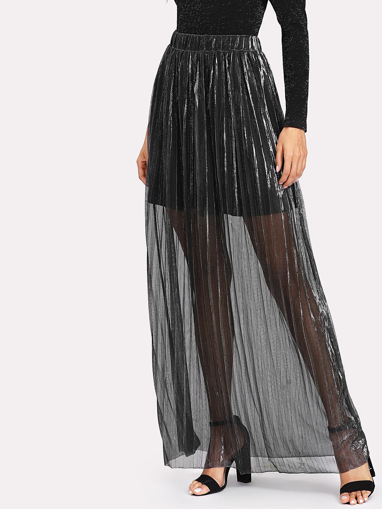 Self Belt Glitter Pleated Skirt