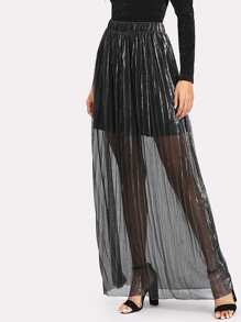 Self Belt Glitter Pleated Skirt