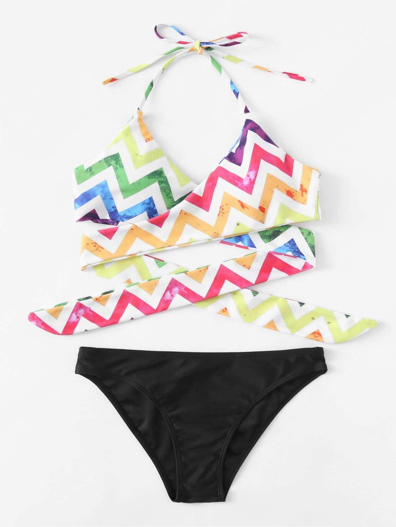 Chevron Wrap Halter Bikini Set halter patterned wrap bikini